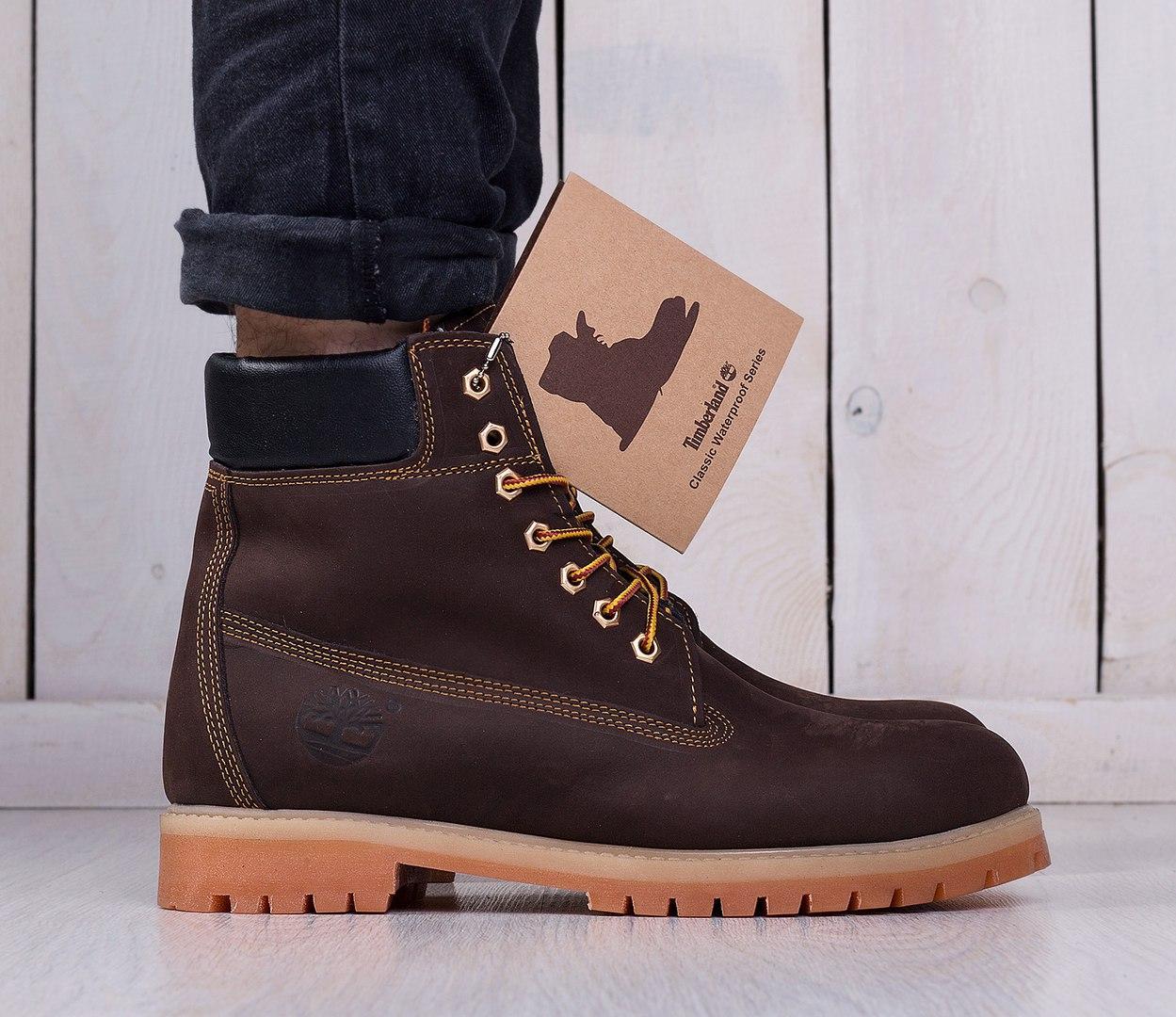 Ботинки Timberland мужские на овчине темно-коричневые топ реплика