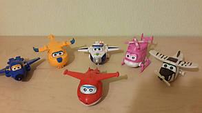 Набор игрушек трансформеров 6 шт Super Wings (Супер крылья) 1225. Светятся глаза, фото 2