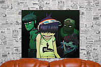 Группа Горилаз. Gorillaz. 50х60 см. Картина на холсте.