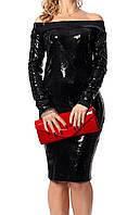 Нарядное черное платье с паетками