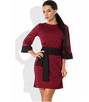 Бордовое платье из французского гипюра с черным поясом