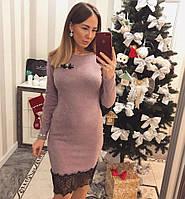 Красивое платье лилового цвета с кружевом, фото 1