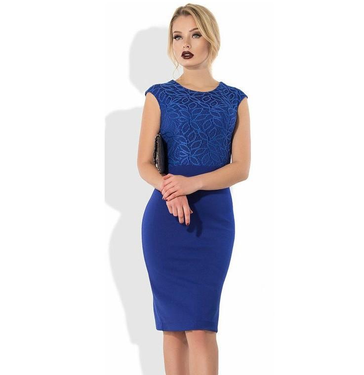 902e05eef29 Синее платье-футляр миди с верхом из гипюра - Lace Secret - Магазин  женского белья