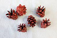 Набор из 6-ти шишек для  творчества шишки красный. Новогодние украшения