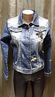 Пиджак женский 48+ джинсовый с пчелой