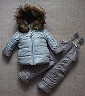 Комбинезон зимний для девочки 1-2 года мех под овчину