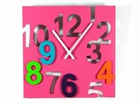 Настенные часы розовые Цифры