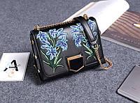 Стильная женская маленькая сумка Jimmy Choo Lockett Petite с вышивкой черного цвета