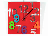 Настенные часы красные Цифры