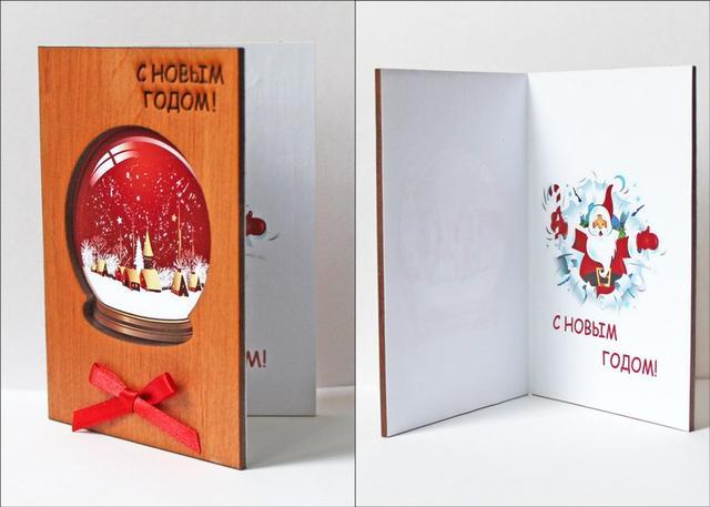 Новогодние деревянные открытки ручной работы