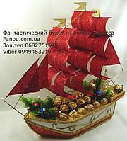 """Новогодний корабль из конфет """"Красные паруса"""", фото 1"""