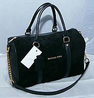 Женская замшевая сумка саквояж Michael Kors, черная Майкл Корс MK, фото 1