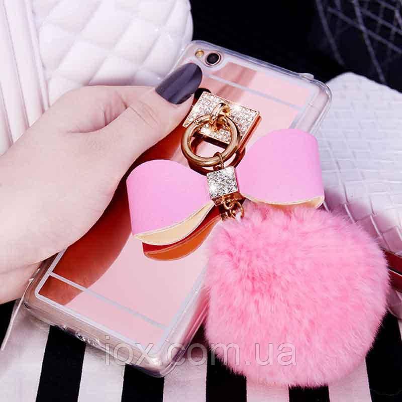 Розовый зеркальный чехол с пушистым хвостиком для Xiaomi Redmi 4X