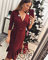 Платье джерси с отделкой воланы на запах , фото 1