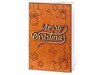 """Оригинальные деревянные открытки с новым годом """"Merry Christmas"""" ручная работа"""