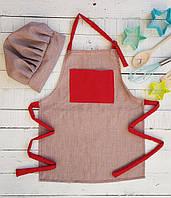 Фартук  + колпак  детский,серый с красным  карманом