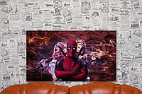 Харли Квинн. Harley Quinn. Дэдпул. Deadpool. 40х70 см. Постер на холсте.