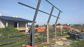 Монтаж солнечной электростанции на регулируемых столах (трекерах). Столы могут регулироваться на разный угол для наибольшей выработки исходя... 2