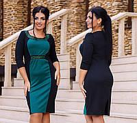 Трикотажное платье с отделкой камнями. Большие размеры. Разные цвета.