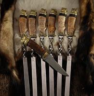 """Подарочный набор широких шампуров с ножом """"Мастиф"""" (6шт, 3мм,20мм) в футляре из вяза (наличие уточняйте)"""