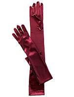 Длинные бордовые атласные перчатки