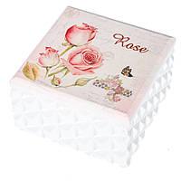 "Деревянная шкатулка коробочка""Бутоны роз"" (10*10*6 cм) с зеркалом"