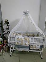 """Детское постельное белье 9 в 1 """"Мишки друзья"""", серый"""