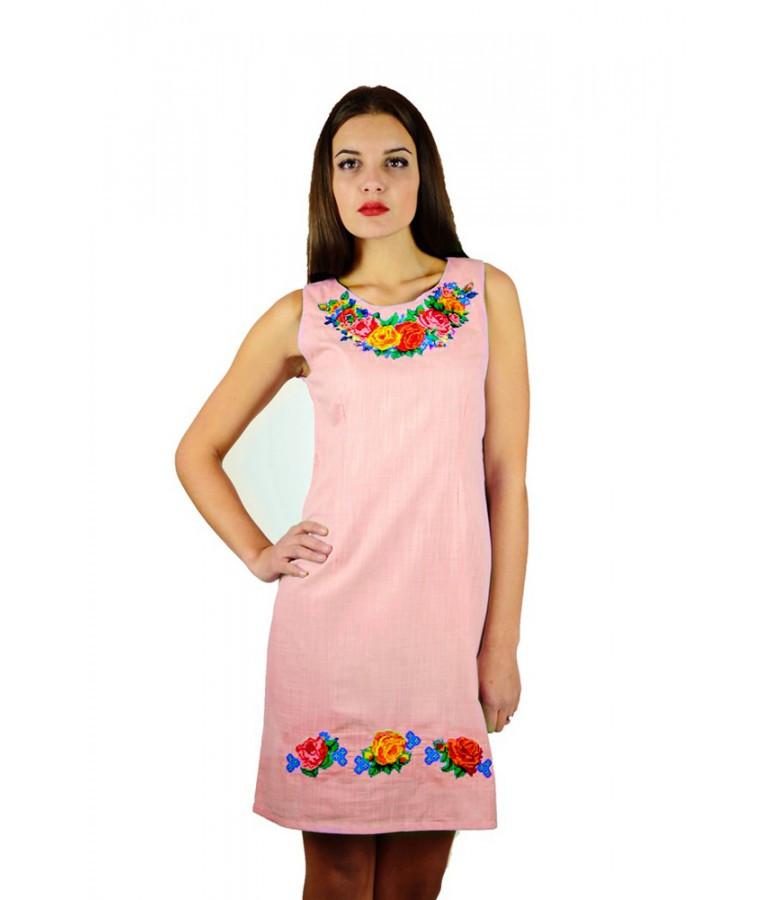 Лляний рожевий сарафан з вишивкою Троянди - Цікавий магазинчик в Яготине 19b6cbe84f2b8