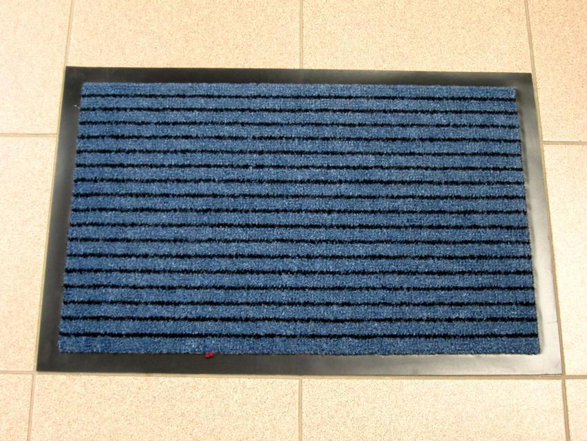 Придверный грязезащитный коврик на резиновой основе с окантовкой Condor Entree 40х60, Синий