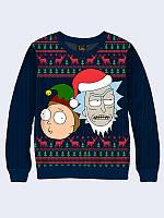 Світшот 3D Мerry Christmas Rick and Morty, фото 1