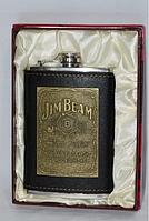 """Фляга  """"Jim beam"""" нержавейка, кожа"""