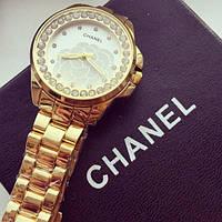 Часы женские наручные Chanel золотистые, Шанель