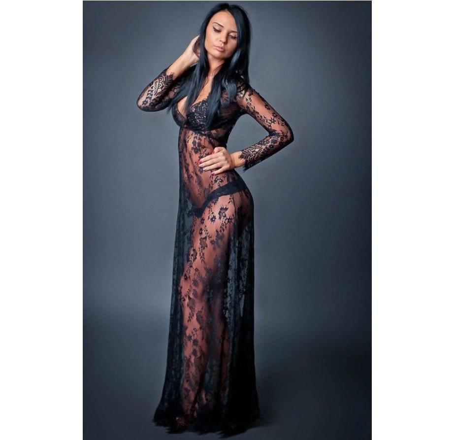 Кружевное будуарное платье черное