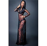 Кружевное будуарное платье черное, фото 1