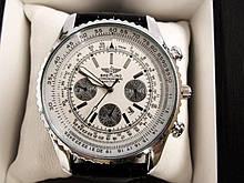 Мужские наручные часы Breitling (Брейтлин) хром с белым циферблатом