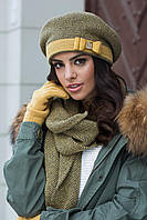 Tiona зимний женский берет  Kamea, шерстяная, горчичный цвет, фото 1