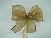 """Новогодняя лента золотая""""сетка""""для бантов с проволочным краем(5см)на метраж, фото 1"""