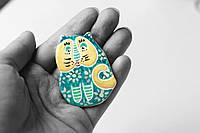 Брошь керамическая авторский дизайн ручная роспись кот бирюзовый