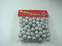 Новогодний декор-серебряные шарики из пенопласта