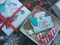 Подарочный набор к Новому Году имбирно-медовых пряников №2 16х16см (пряник новогодний на подарок)