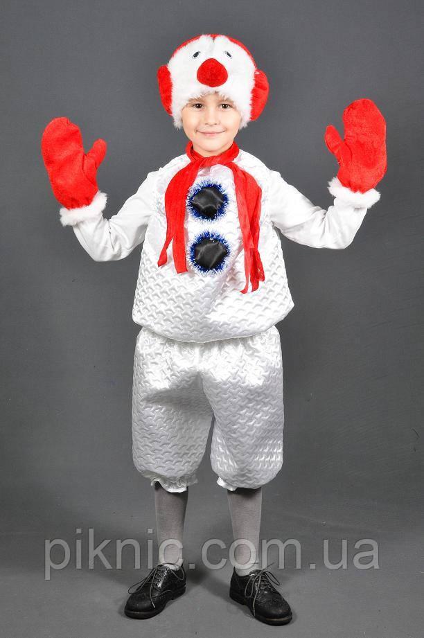 Карнавальный костюм Снеговик 5,6,7,8 лет. Детский новогодний маскарадный костюм Снеговичок