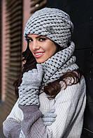 Olivia женская зимняя шапка и снуд Kamea,шерстяная, серый  цвет