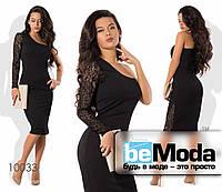 Стильное асимметричное женское платье на одно плечо с изысканным гипюровым рукавом приталенного фасона черное