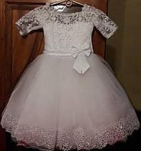Детское нарядное бальное платье гипюр фатин