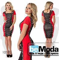 dff7600f2aa Необычное женское платье привлекательного фасона с пайетками и сеткой  красное