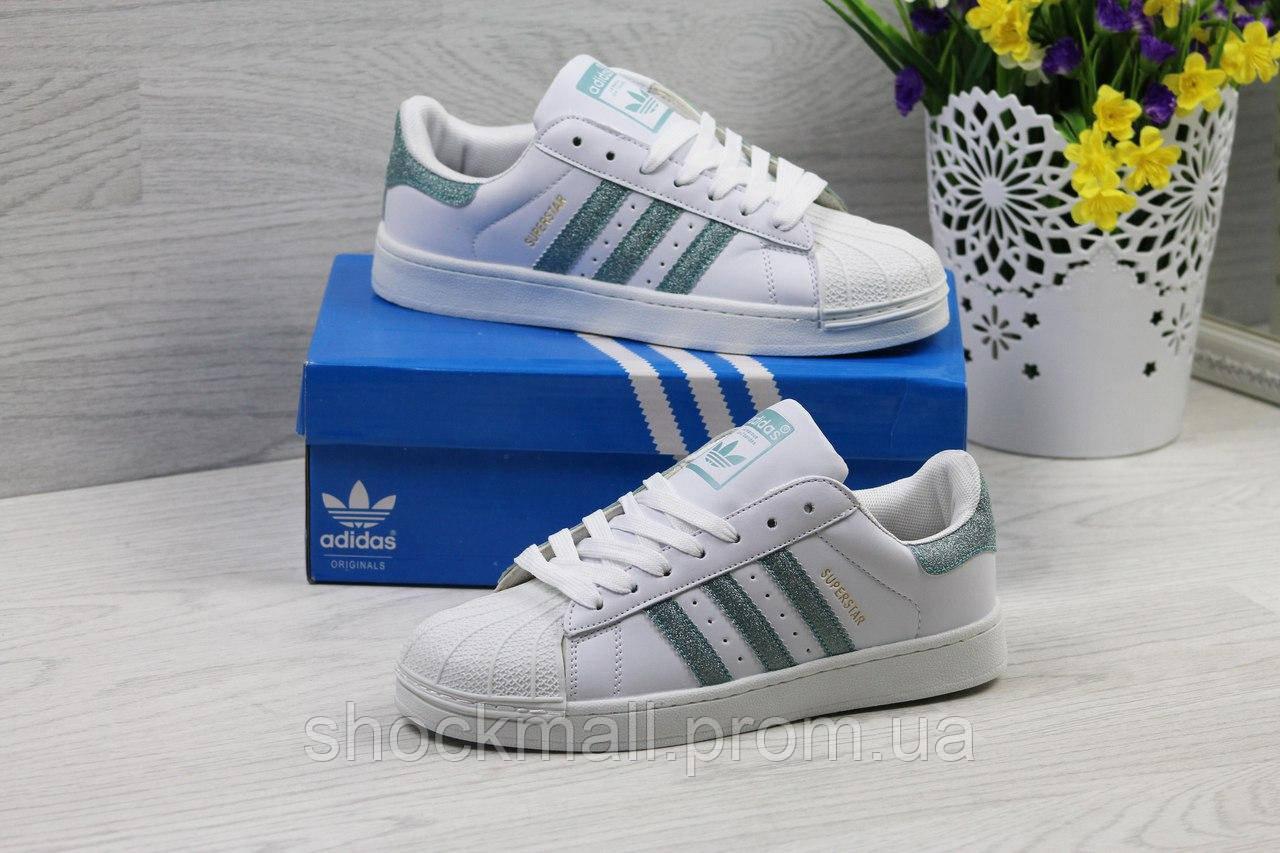 Купить Кроссовки Adidas Superstar белые с зеленым Вьетнам недорого ... 0dd2262ef3916