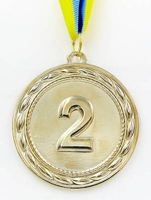 Медаль спортивна з стрічкою ABILITY d-6,5см C-4841-2 месце 2-срібло