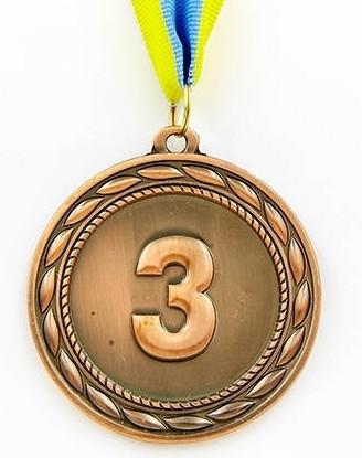 Медаль спортивна з стрічкою ABILITY d-6,5 см C-4841-3 місце 3-бронза