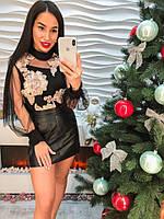Женская красивая блуза с атласными лентами, фото 1