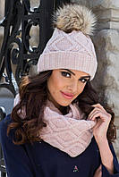 Ismena женская зимняя шапка с бубоном и снуд Kamea,полушерстяная, цвет бежевый